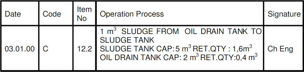 Gemi Tankından Transfer için Yağ Kayıt Defteri Örneki